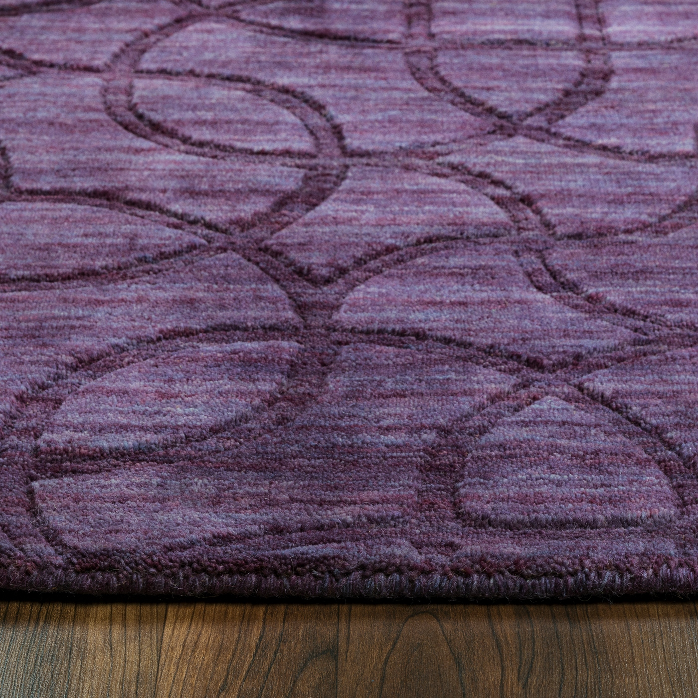 Uptown Abstract Mosaic Outline Wool Runner Rug In Purple