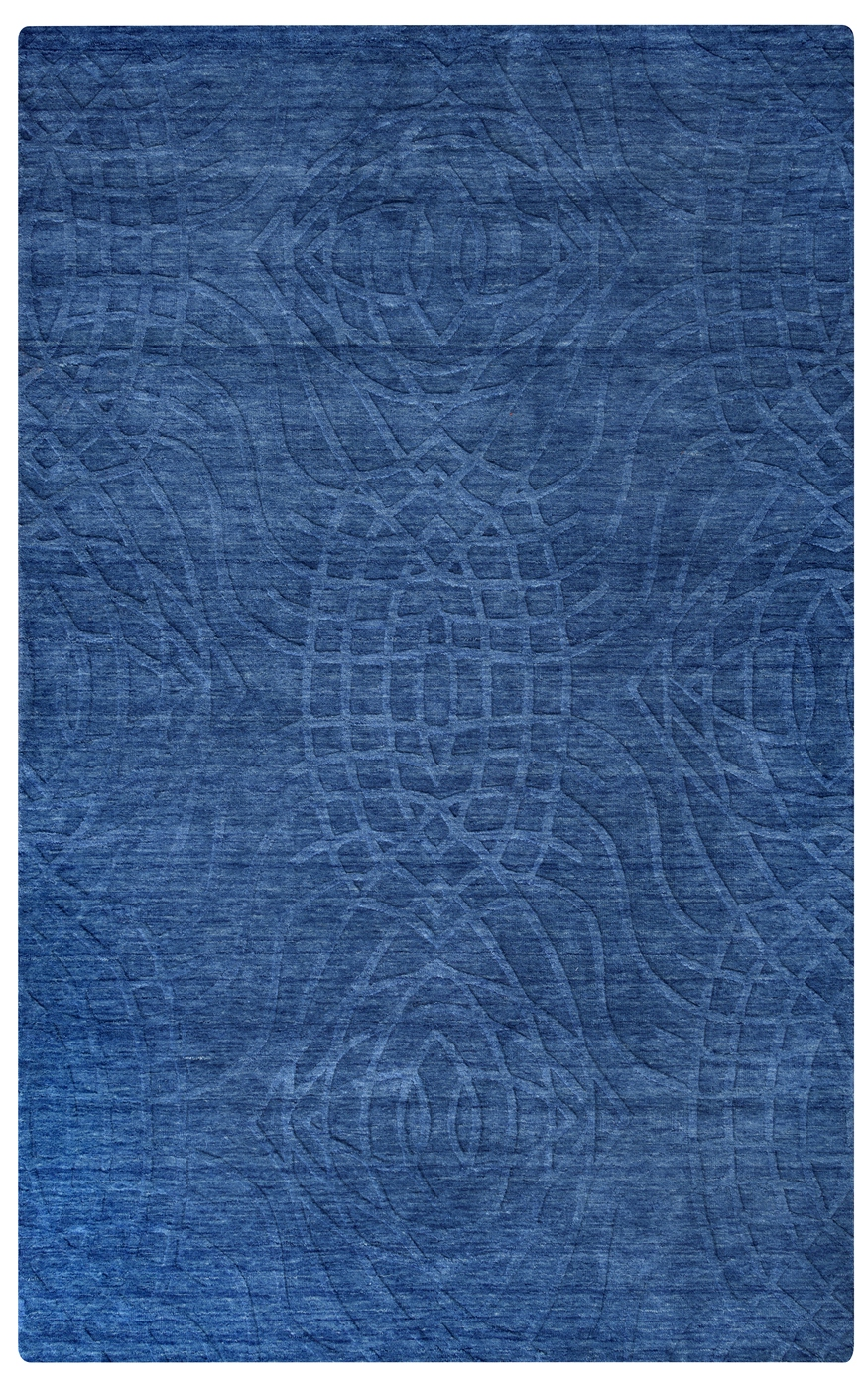 Uptown Abstract Ripple Pattern Wool Area Rug In Blue 10