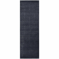 """Uptown Soft New Zealand Wool Runner Area Rug 2'6""""x 8' Charcoal Grey Black Solid"""