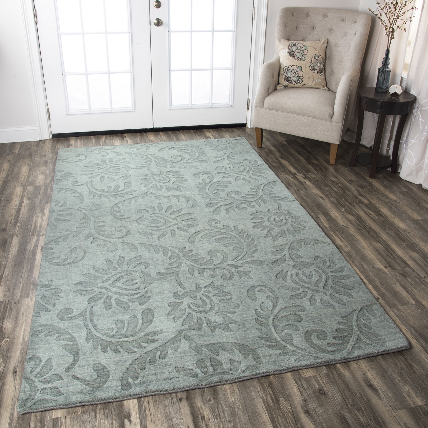 Uptown Floral Print Pattern Wool Area Rug In Grey 10 X 14