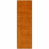 """Uptown Soft New Zealand Wool Runner Area Rug 2'6""""x 8' Rust Copper Brown Solid"""