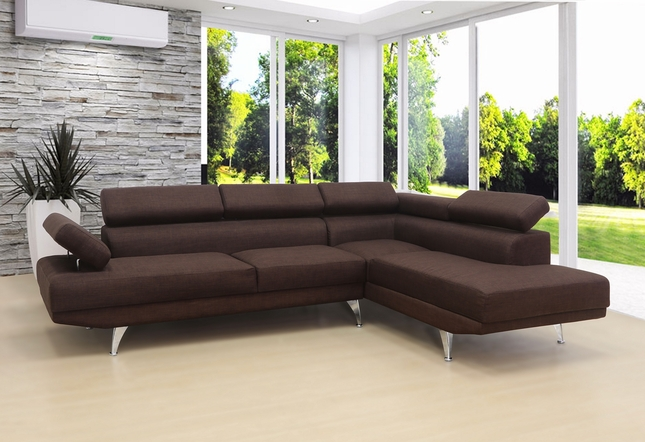 Uptown Modern Brown Linen Sectional Sofa with Adjustable Headrests