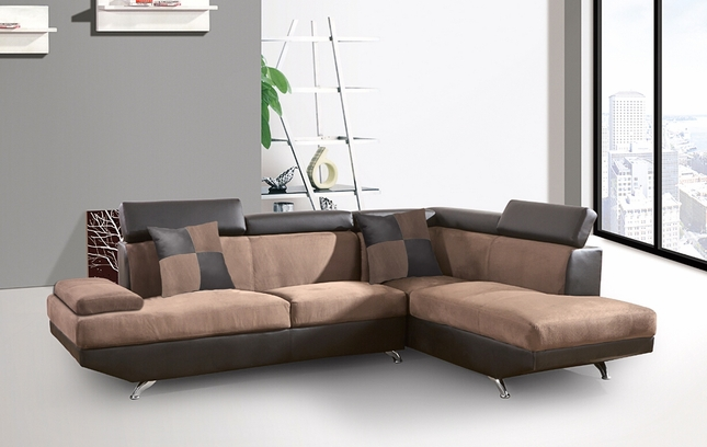 Uptown Modern Suede & Leather Sectional Sofa in Chocolate & Espresso
