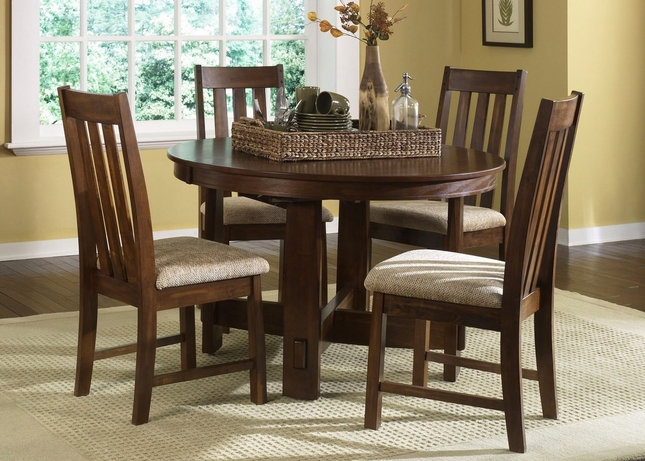 Urban Mission Oak Casual Dining Furniture Set - Mission style oak dining table and chairs
