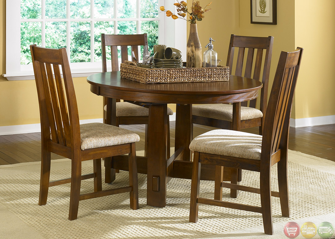 Urban mission oak casual dining furniture set for Casual dining room sets