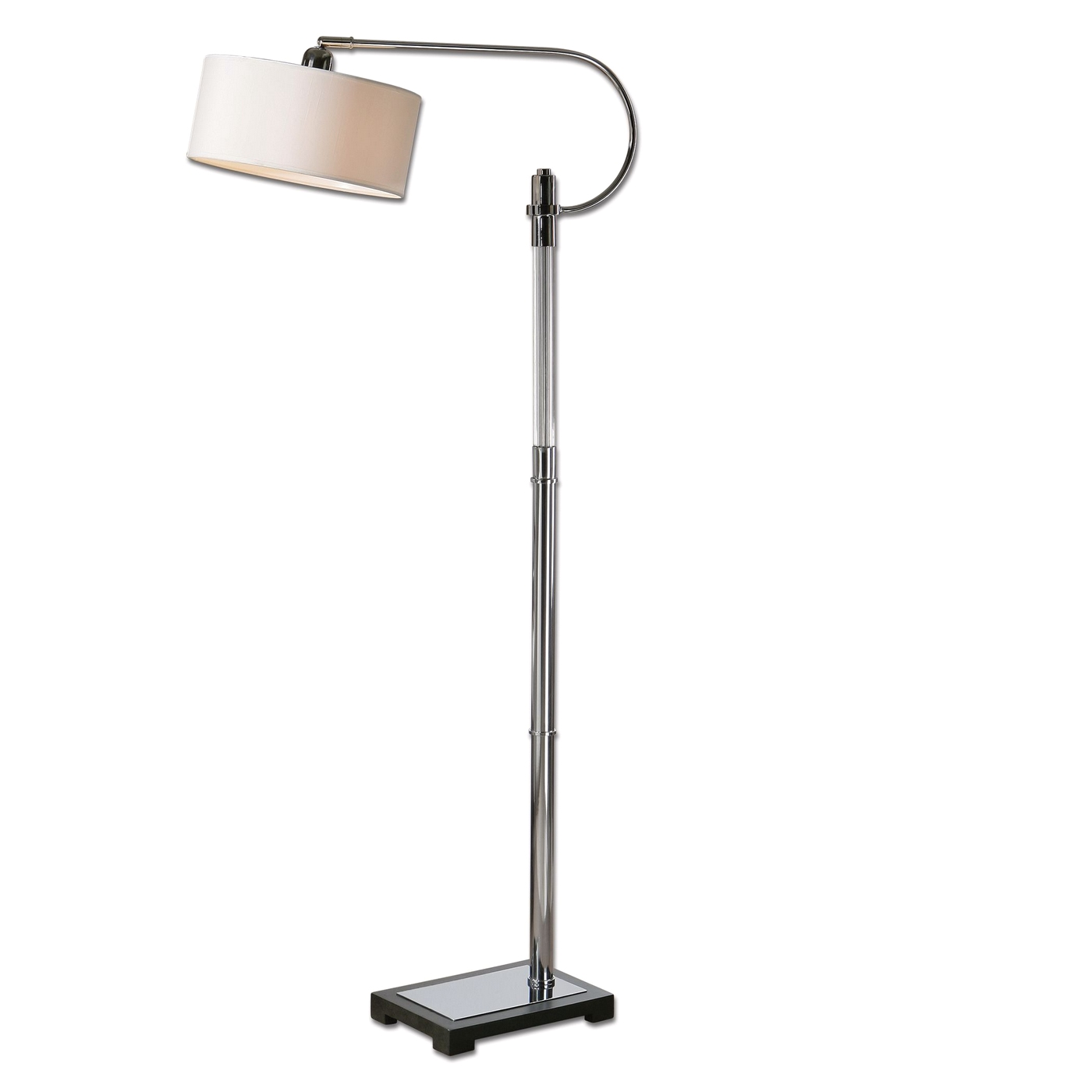 Ribbed Brass Floor Lamp: Adara Ribbed Glass & Polished Chrome Drum Shade Floor Lamp