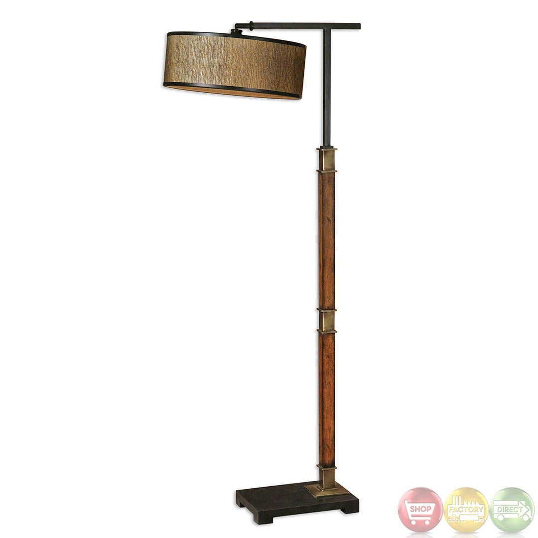 Allendale drum shade distressed burnished wood base Wood floor lamp