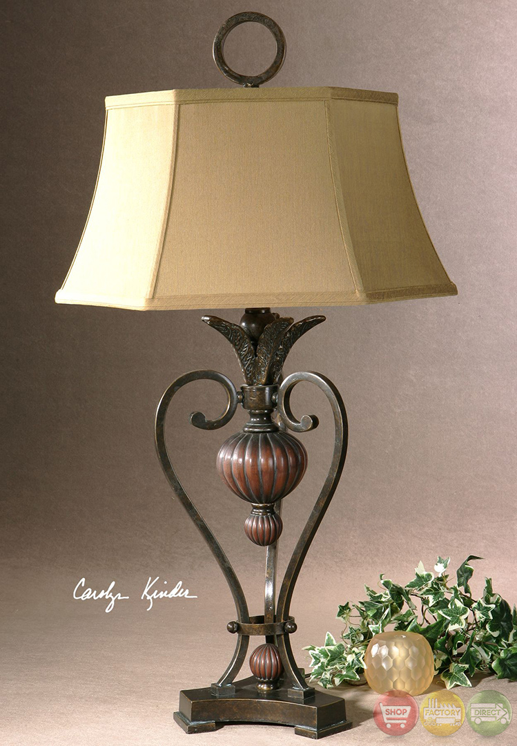 Andra Golden Bronze & Antique Wood Tone Table Lamp 26917