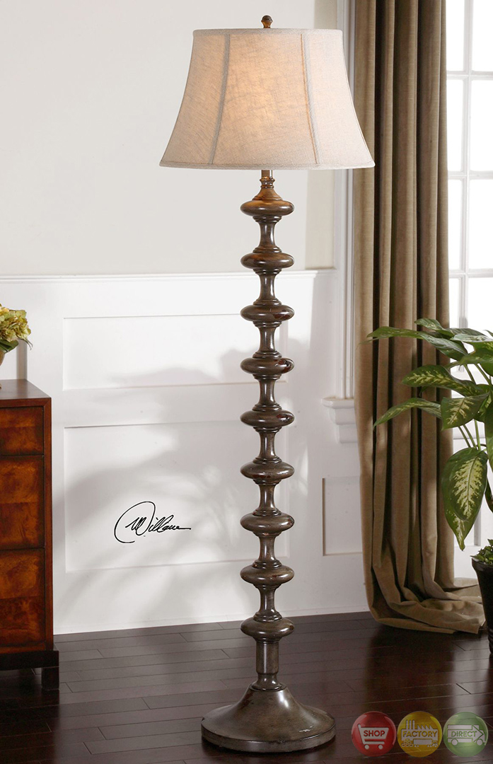 Antonello distressed solid wood mission style floor lamp 28630 for Mission style flooring