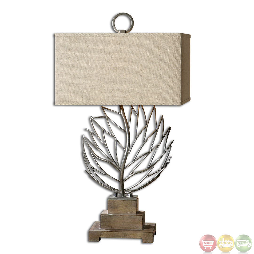Argento Leaf Design Welded Aluminum Table Lamp 27695 1