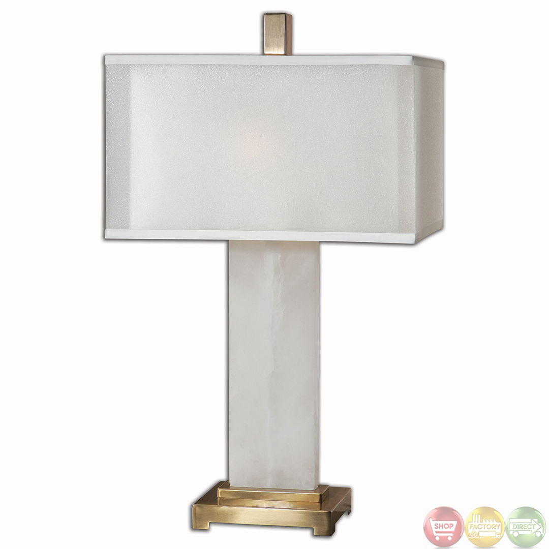 Athanas White Alabaster Coffee Bronze Table Lamp 26136 1