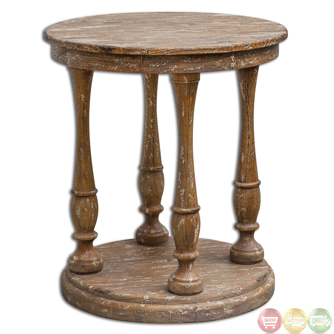 Bardeau country rustic weathered wooden accent table 25628 for Rustic wood accent tables