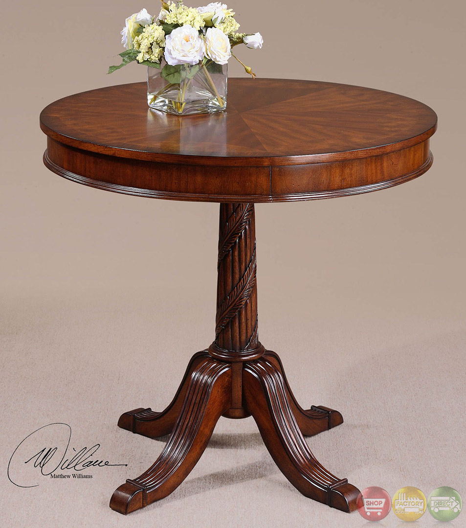 Brakefield antique style round pedestal accent table