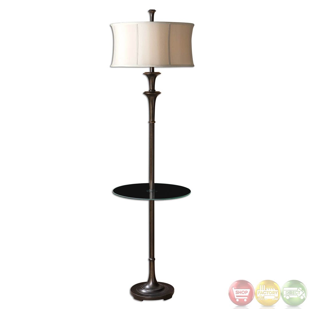Brazoria oil rubbed bronze glass shelf floor lamp 28235 1 for Floor lamp with shelves
