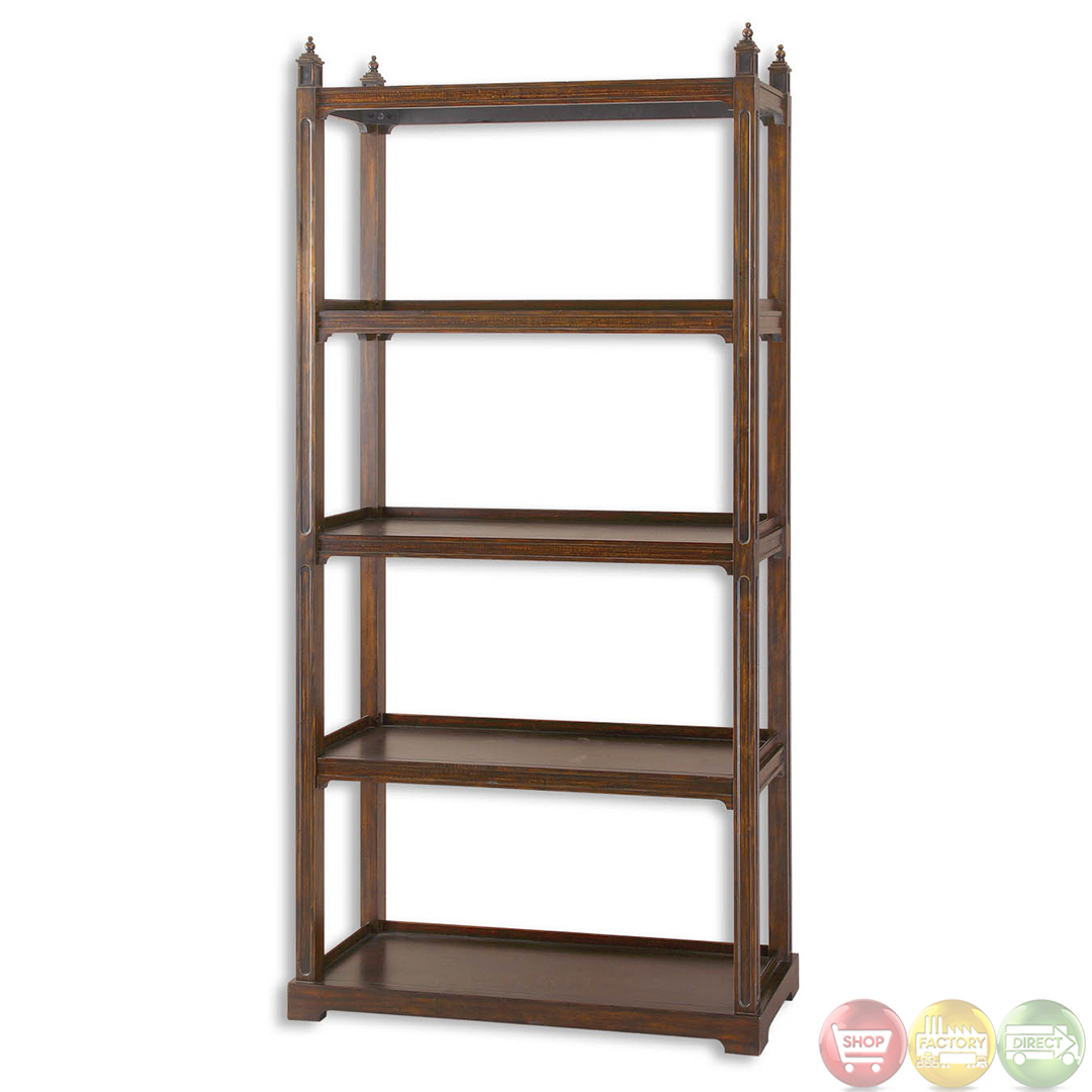 brearly bourbon finish wooden display etagere 24126. Black Bedroom Furniture Sets. Home Design Ideas