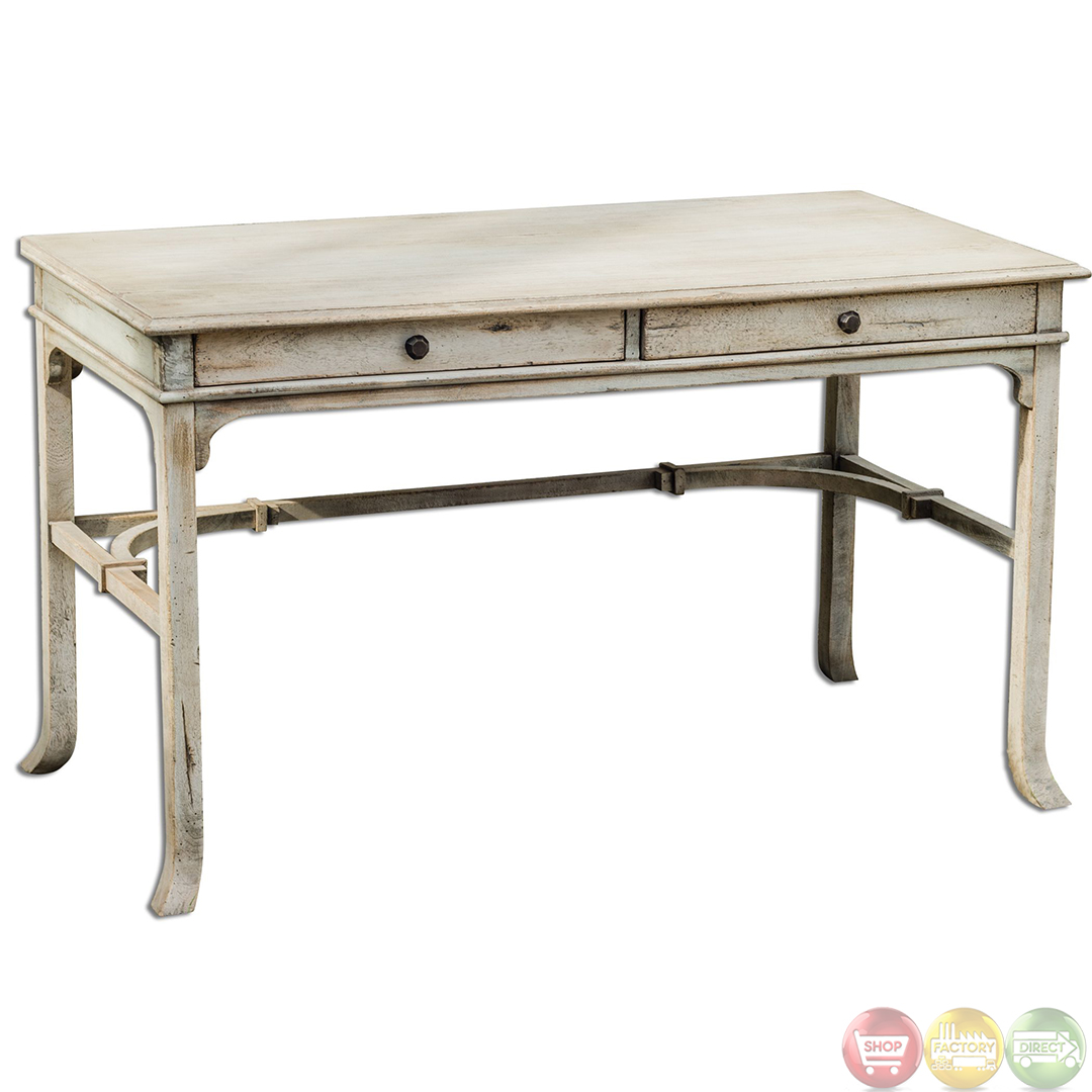Bridgely aged white finish solid wood writing desk 25602 - Unfinished wood desks ...