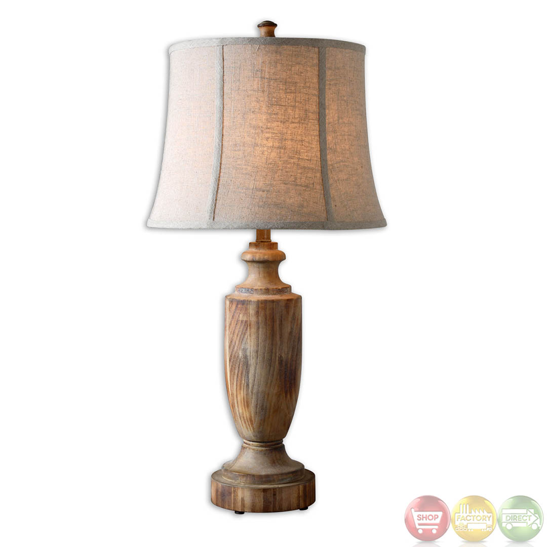Calvino light ash gray bleached solid wood table lamp 27687 for Lamp wooden
