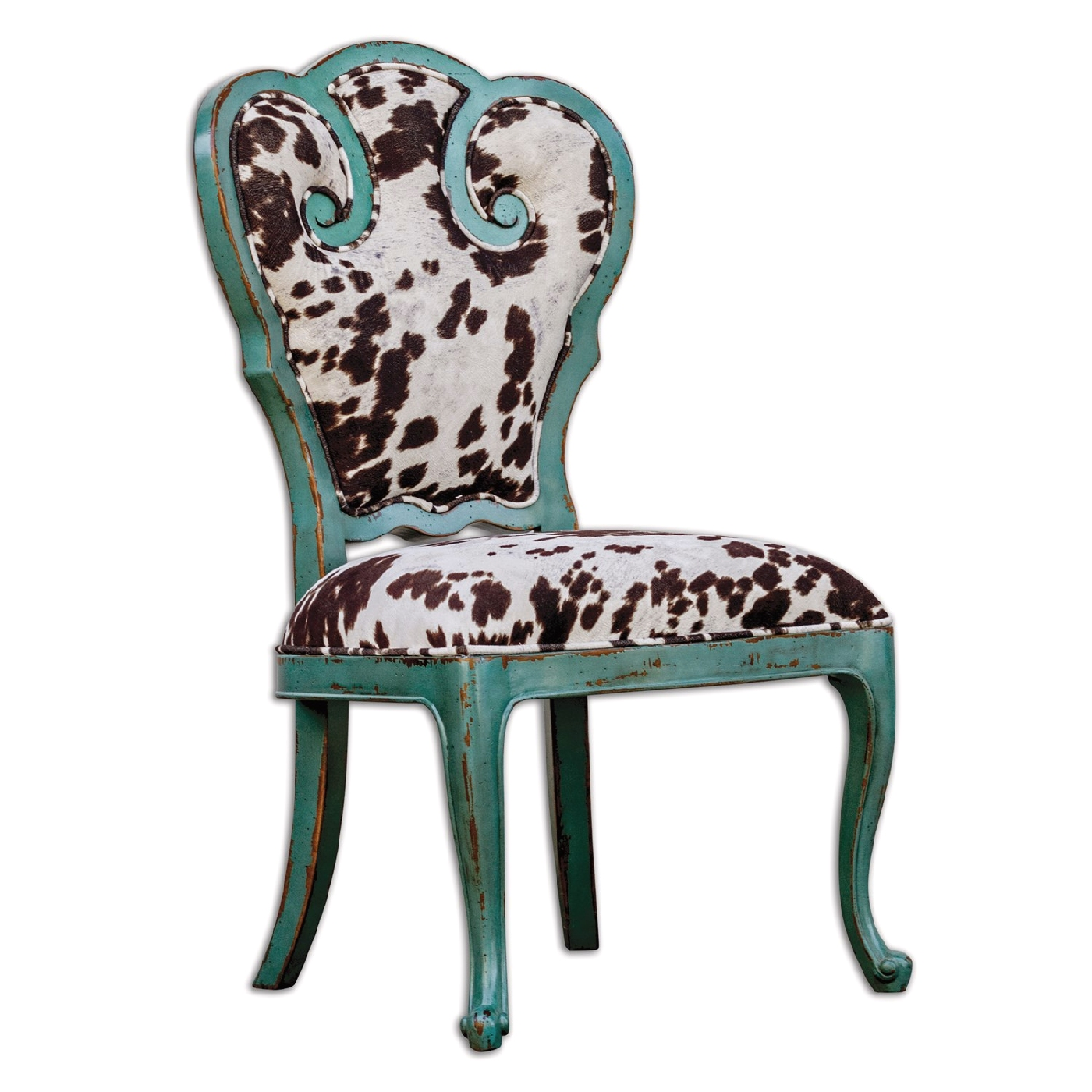 Chahna Turquoise Cow Print Western Style Accent Chair 23620