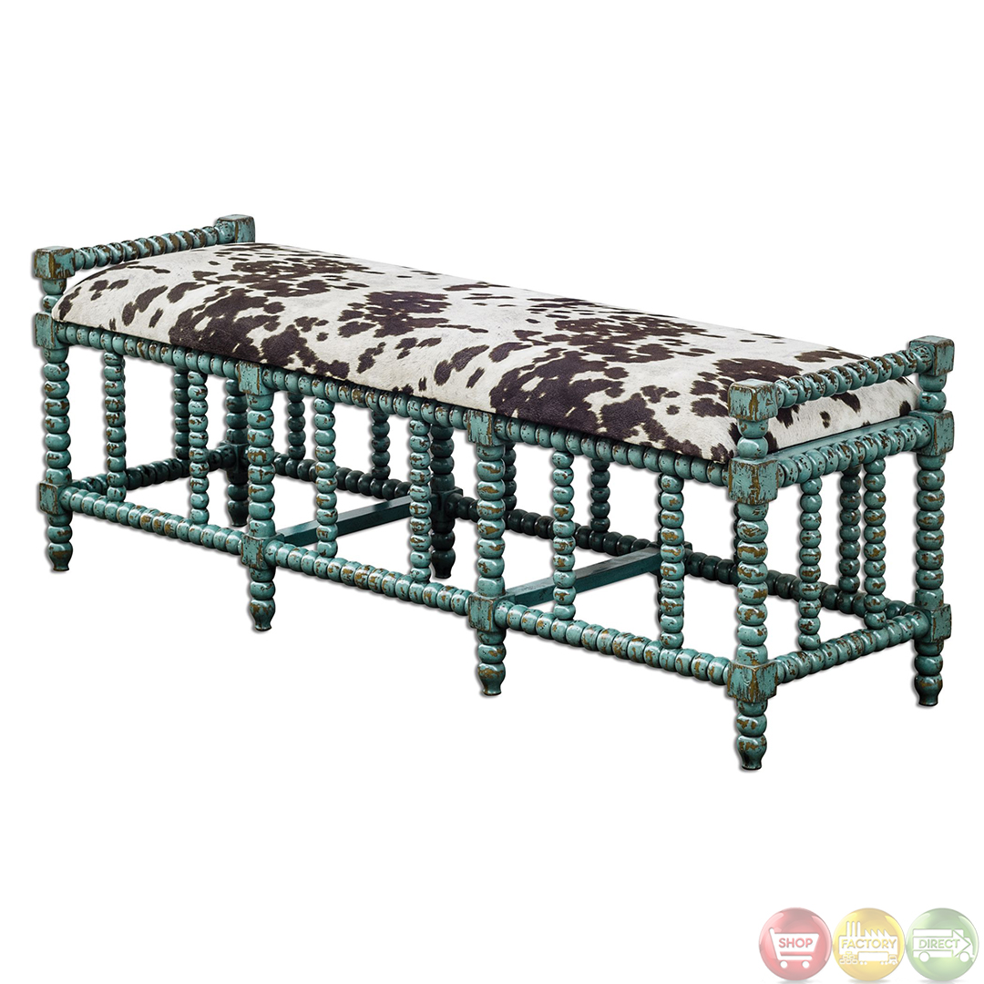 Chahna Turquoise Cow Print Western Style Cushioned Bench 23614