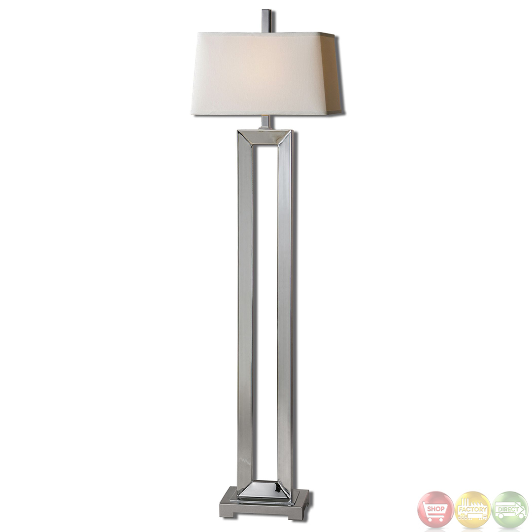 Coffield polished chrome metal column modern floor lamp 28595 for Modern contemporary floor lamp