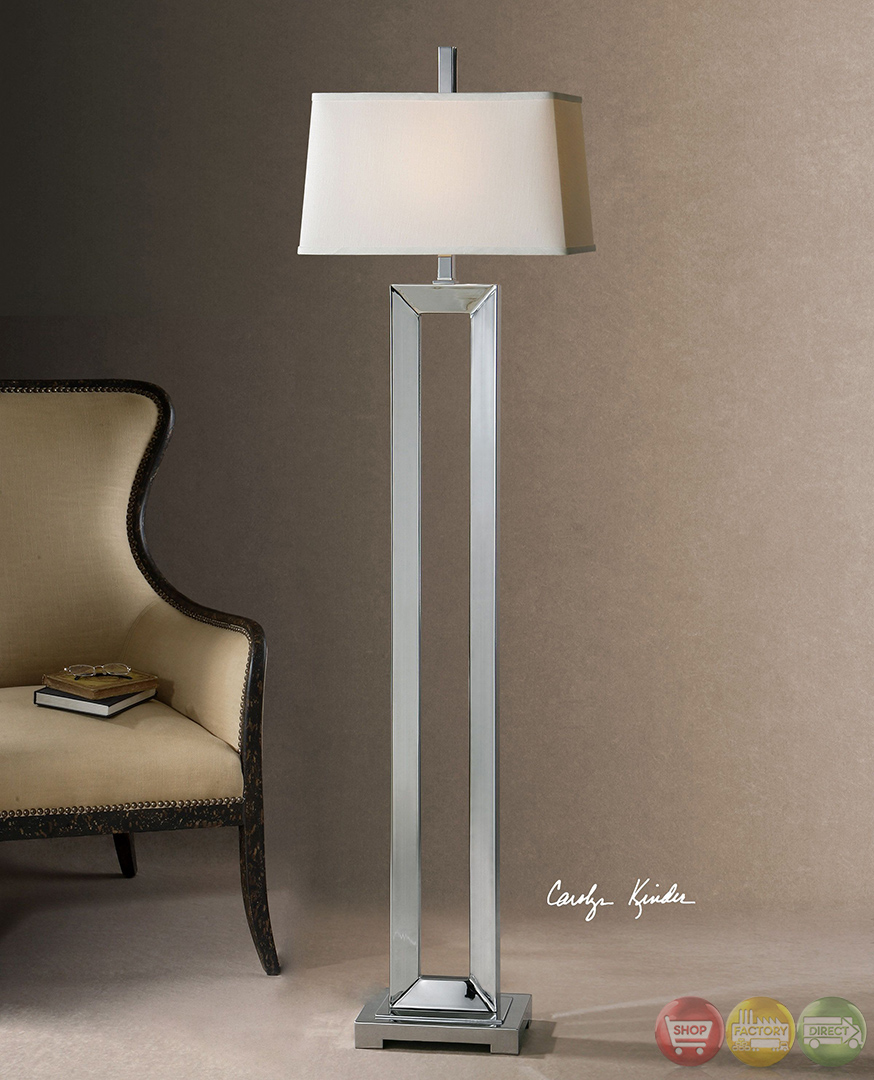 Coffield Polished Chrome Metal Column Modern Floor Lamp 28595