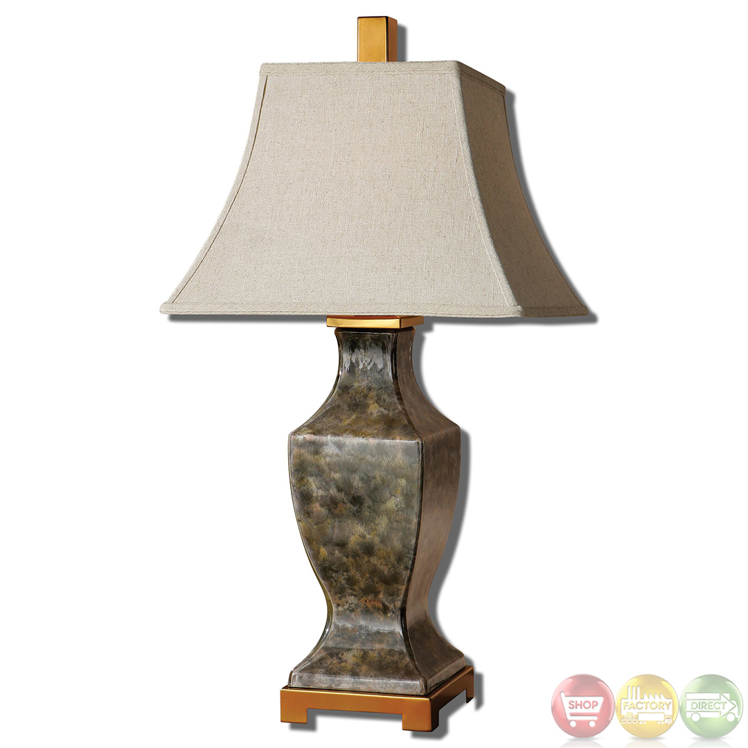 Danilo Gray Amp Rust Mottled Glass Table Lamp 26590