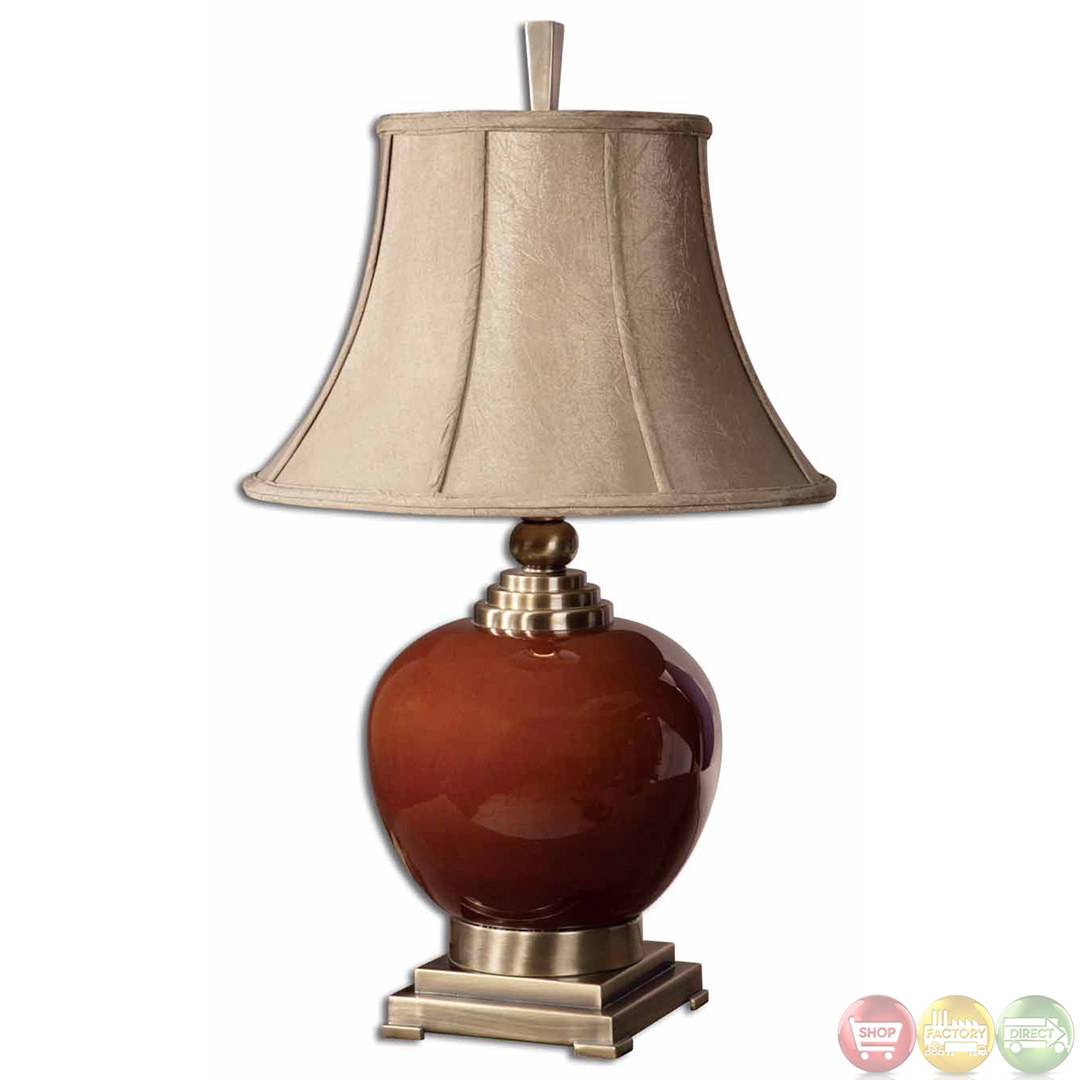 Daviel Cinnamon Red Porcelain Coffee Bronze Table Lamp 26728