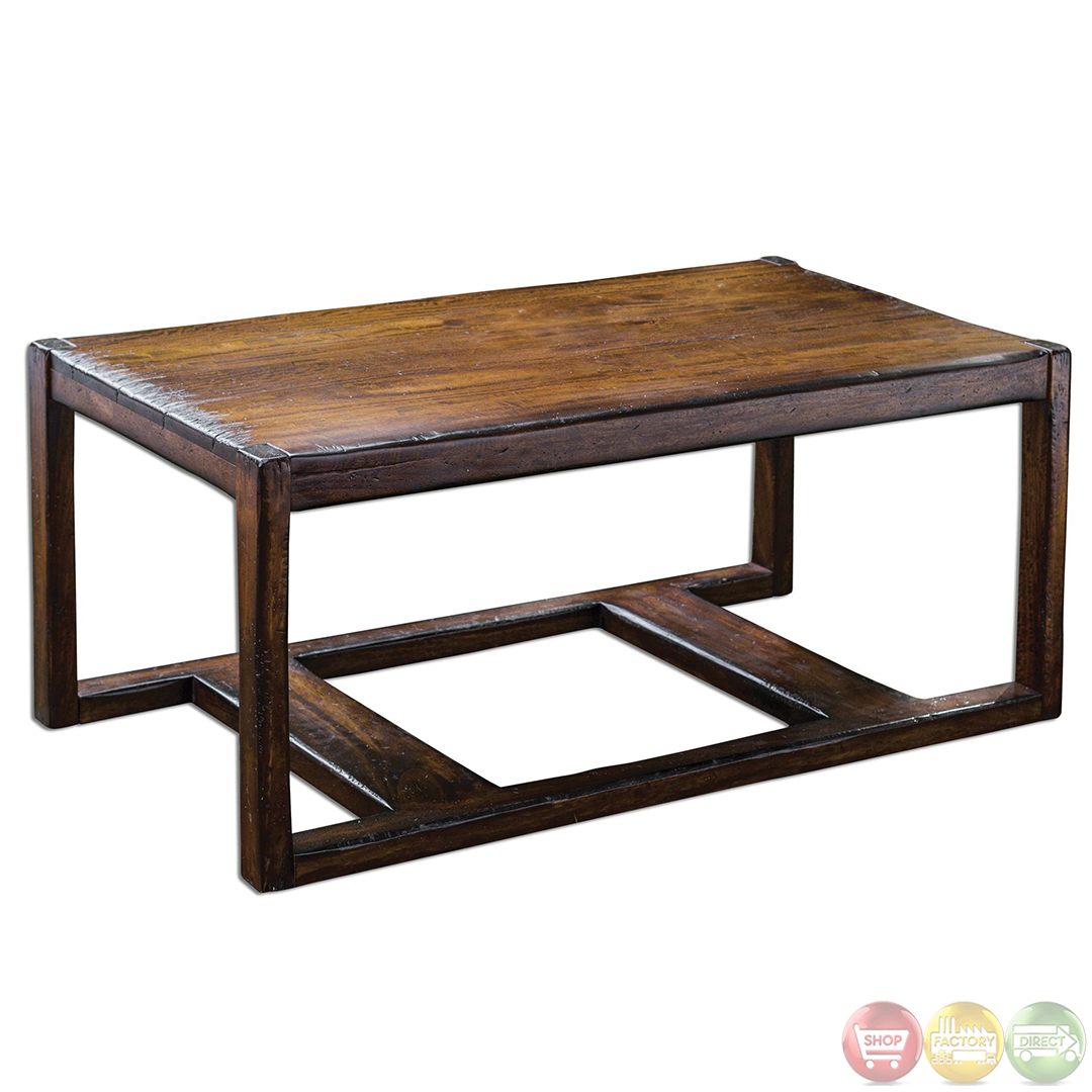 Deni heavily distressed solid wood coffee table 25605 for Solid wood coffee table