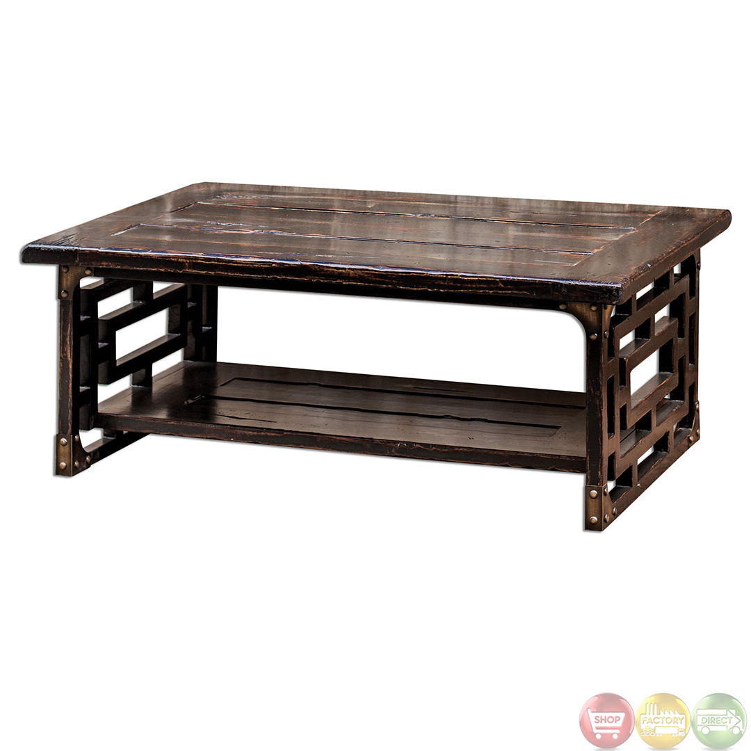 Deron antique finish solid wood coffee table 25600 for Solid wood coffee table