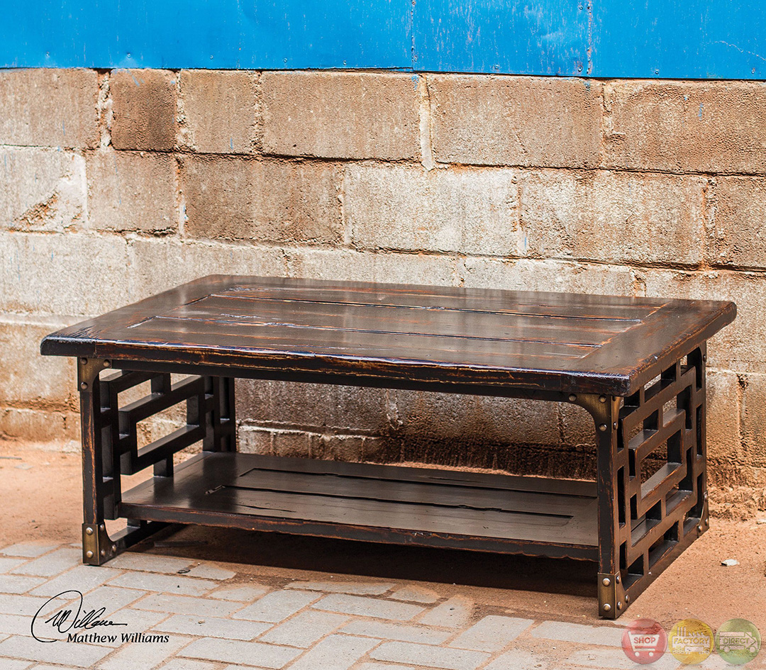 Vintage Wood Coffee Tables: Deron Antique Finish Solid Wood Coffee Table 25600