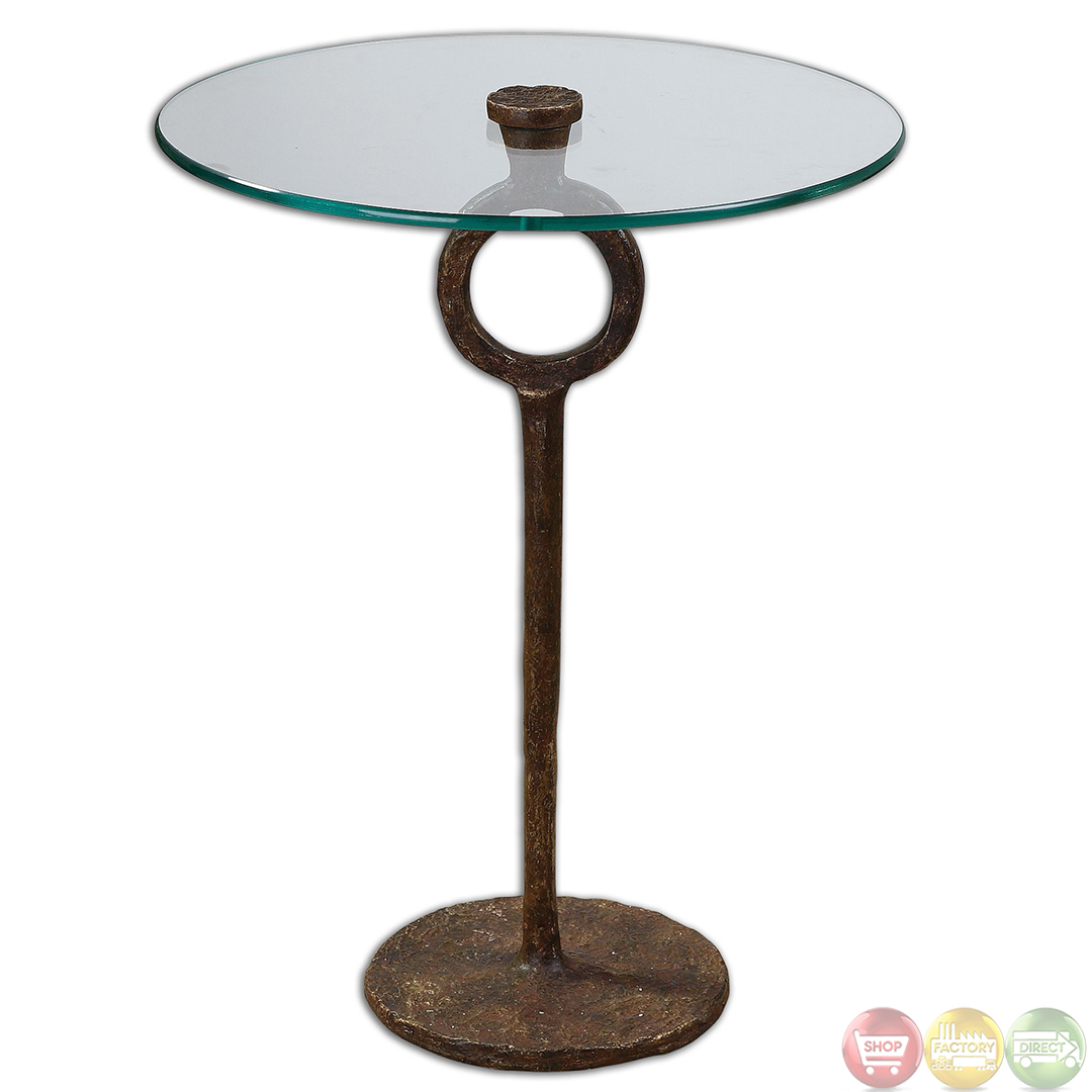 Diogo cast iron base glass top accent table 24336 for Wrought iron and glass table