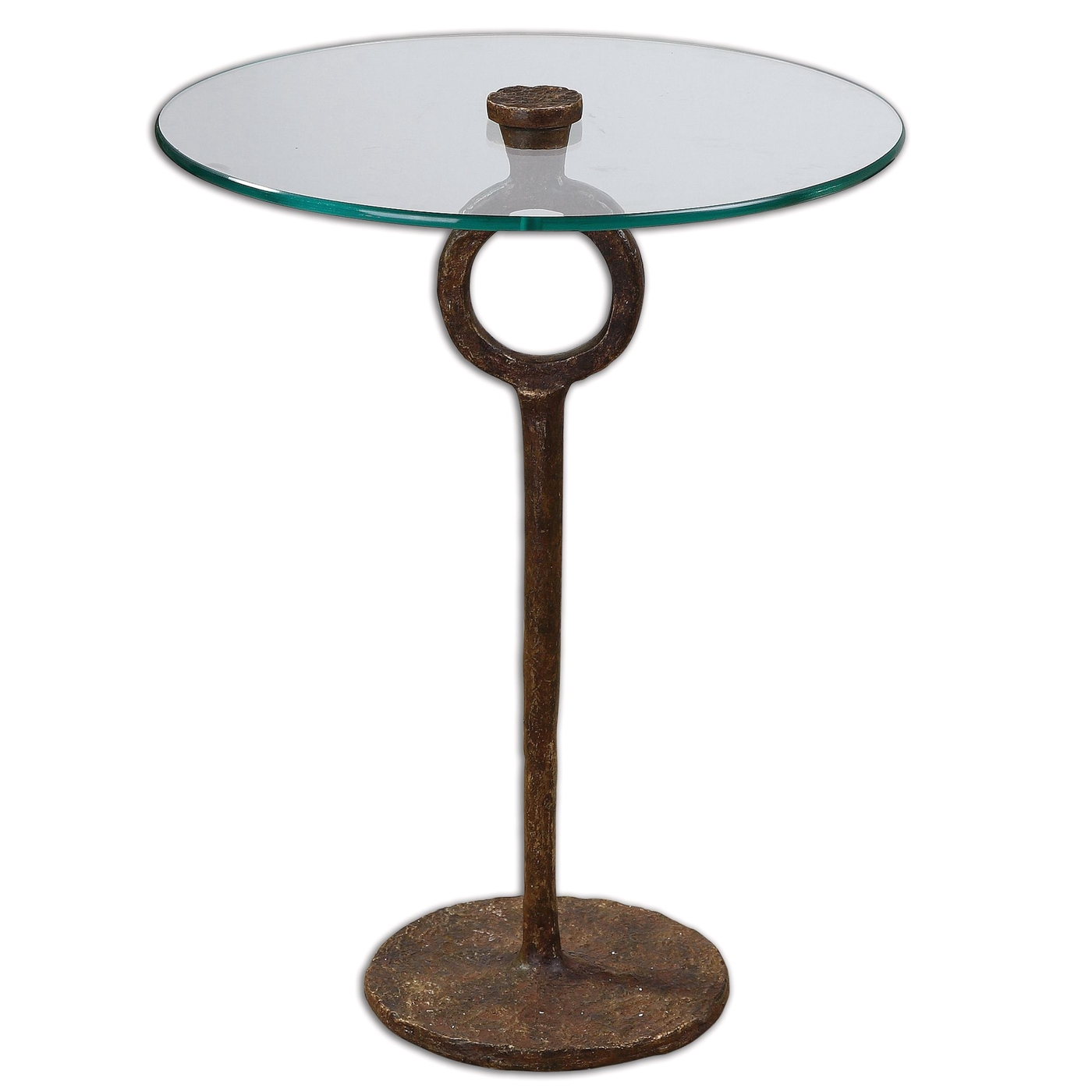 Diogo cast iron base glass top accent table 24336 for Cast iron table with glass top