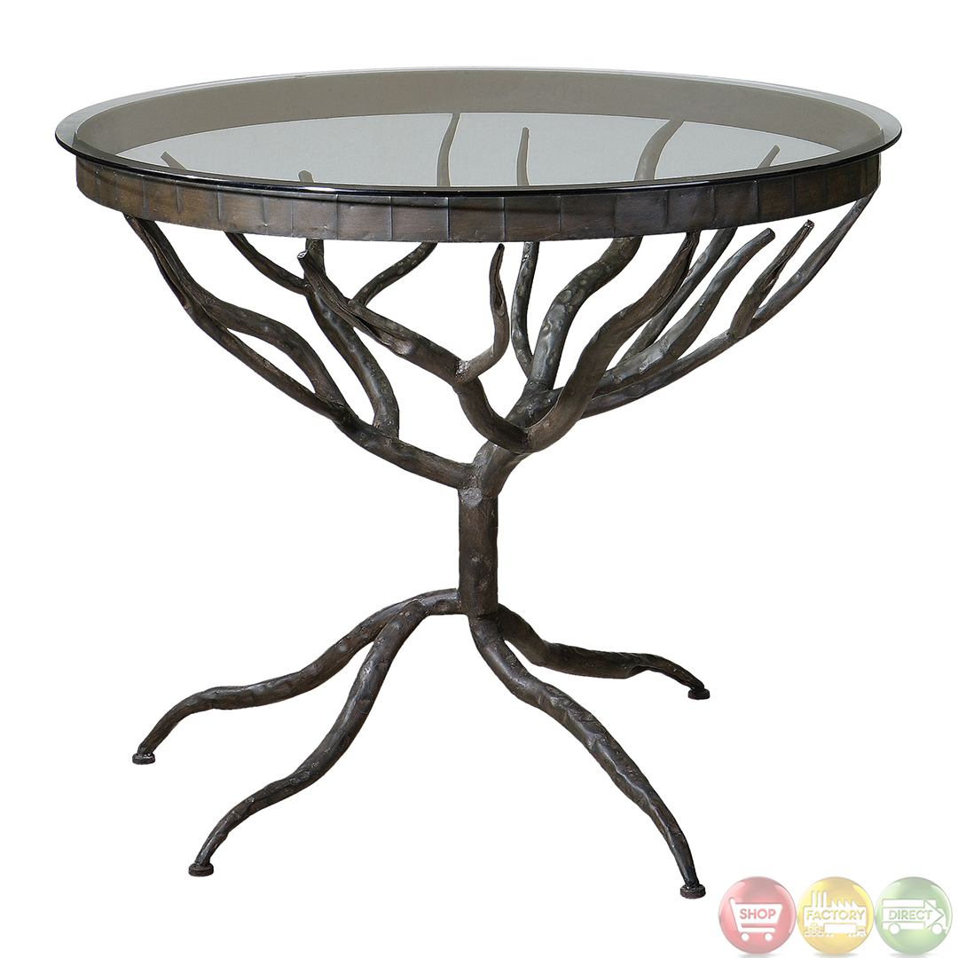 Tree Side Table ~ Esher tree design metal base glass top accent table