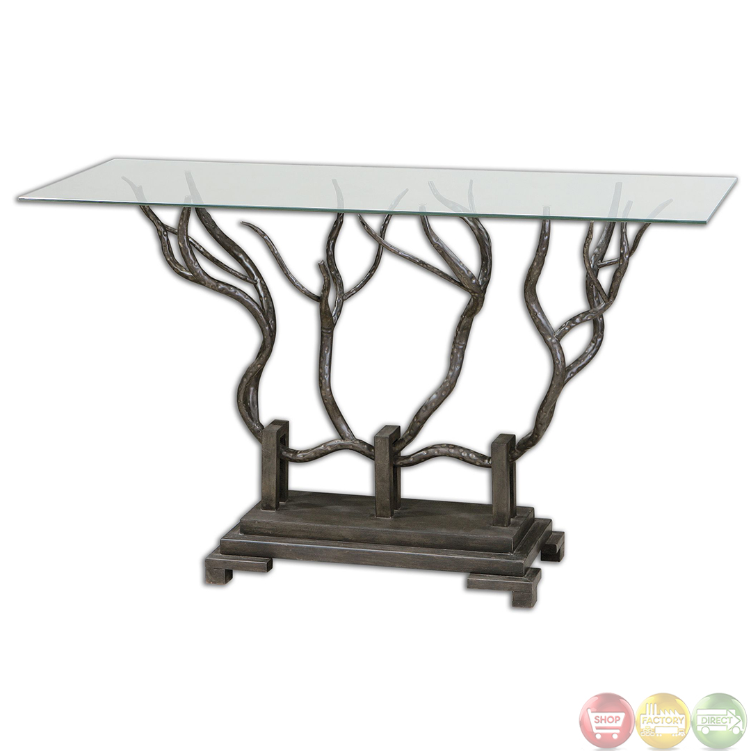 Esher Tree Metal Base Glass Top Console Table 24402