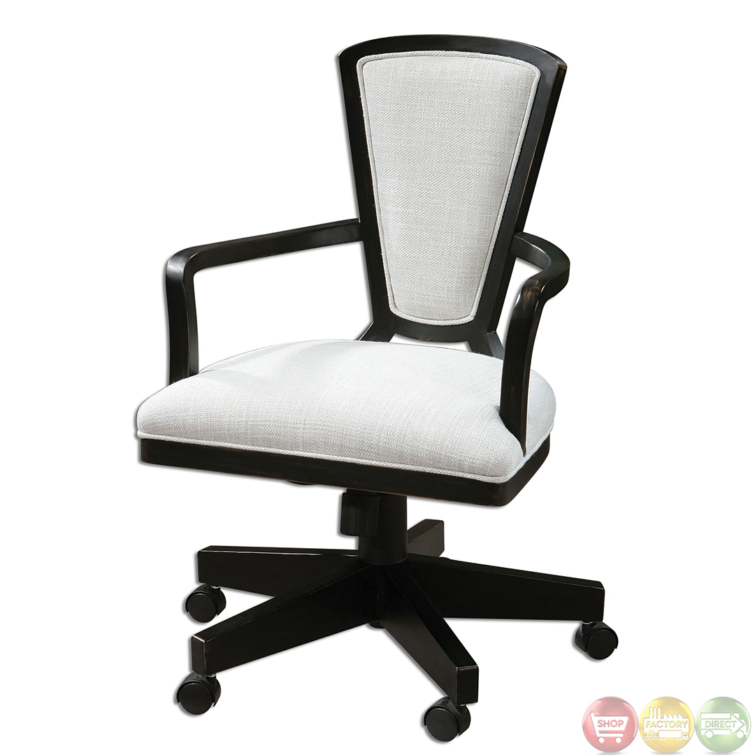 Exavier sandy white linen wood frame modern desk chair 23151 for Modern white office chair