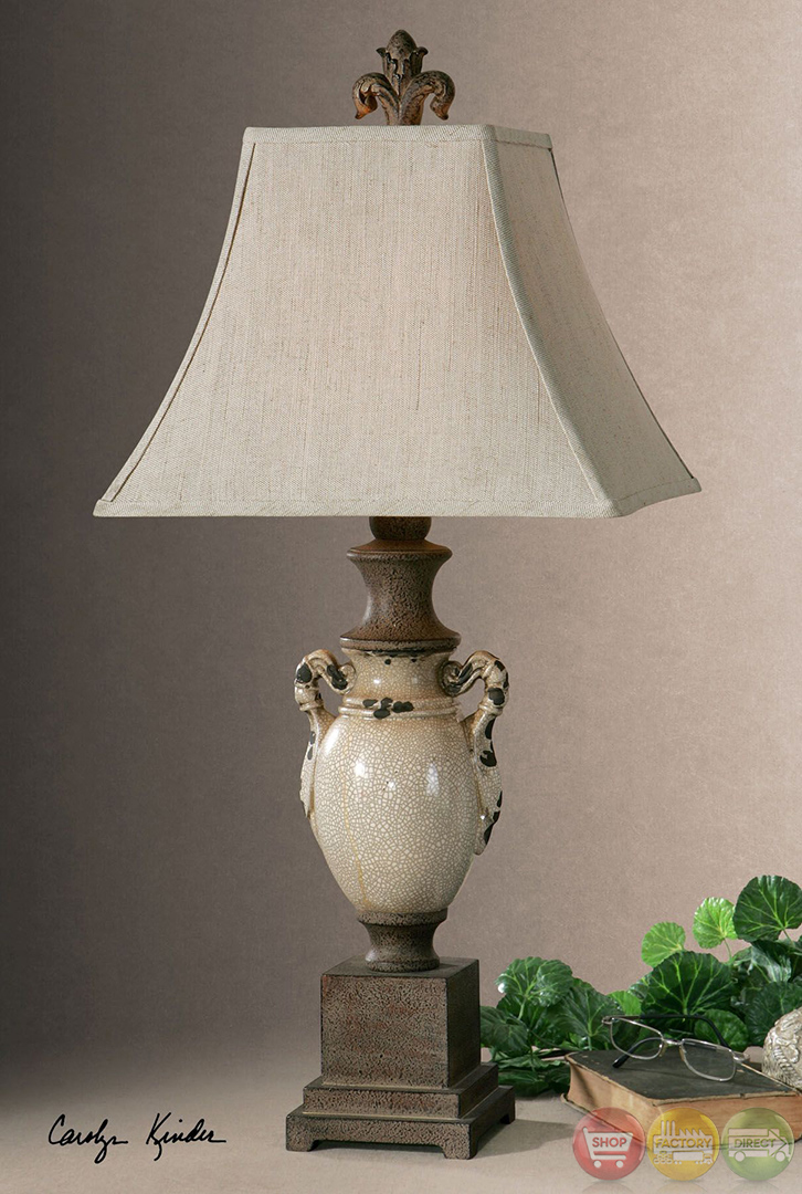 Francavilla Crackled Ivory Ceramic Table Lamp 27437