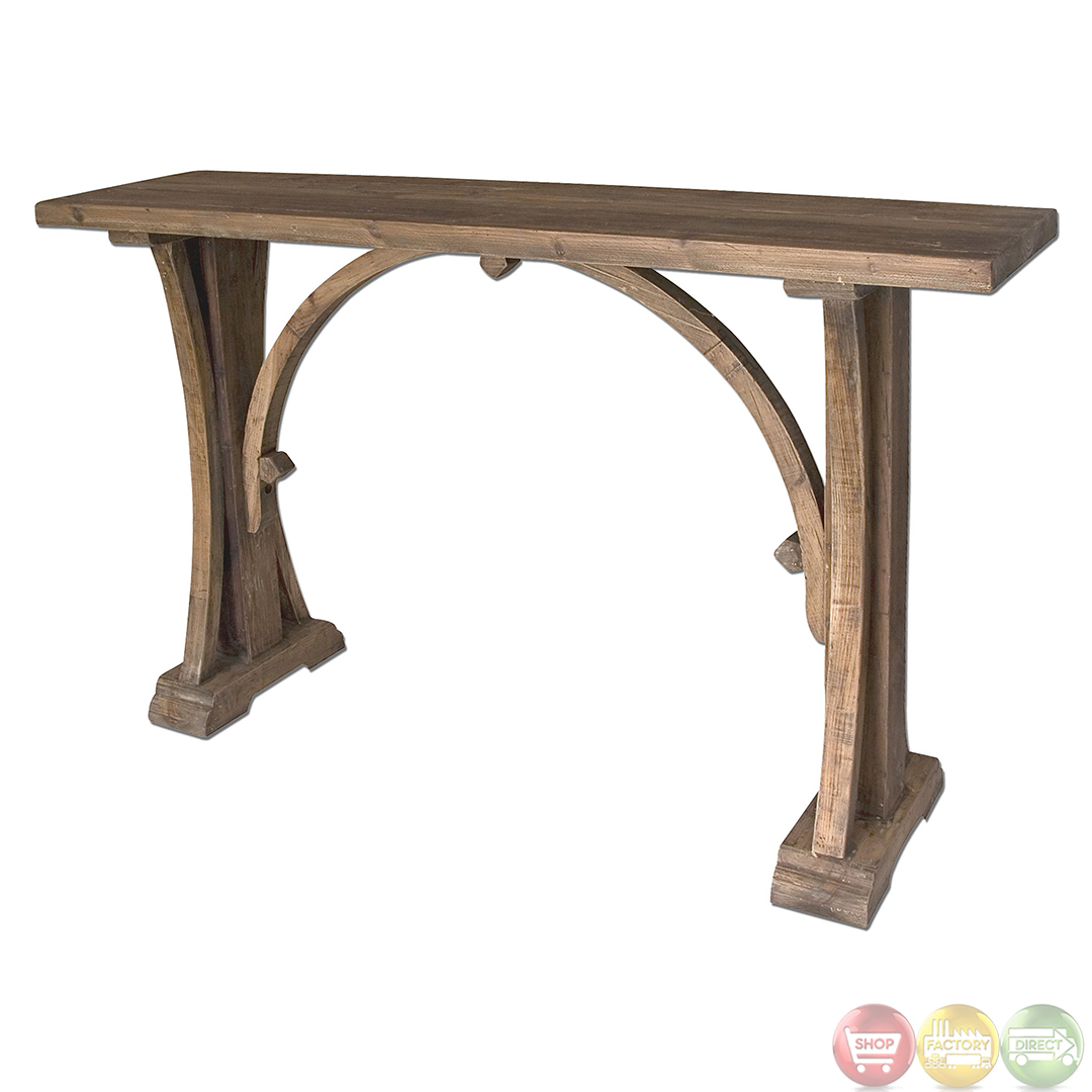 Genesis reclaimed wood rustic console table 24302 for Table console