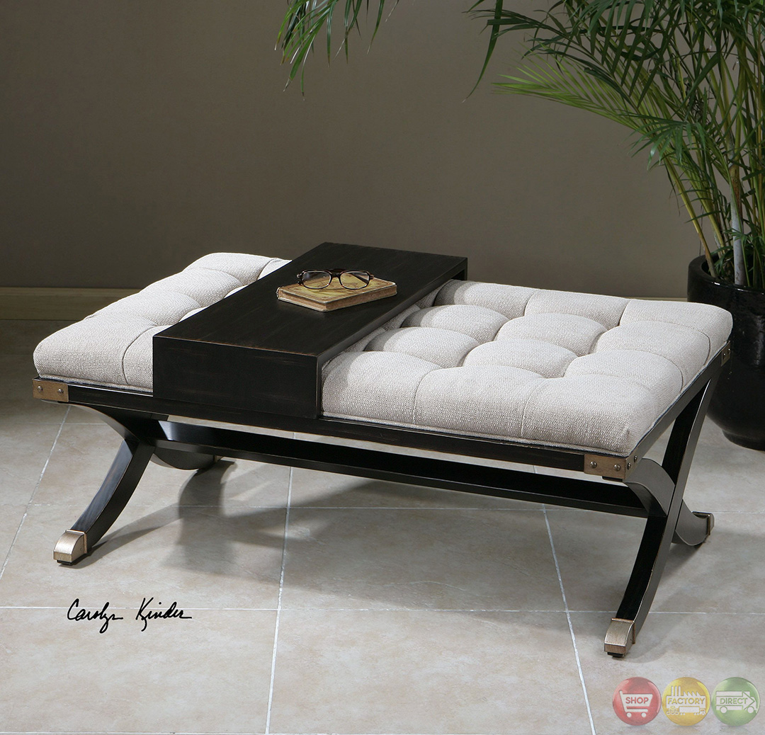Ottoman Coffee Table With Sliding Wood Top: Gizela Black & White Button Tufted Sliding Tray Ottoman 23156