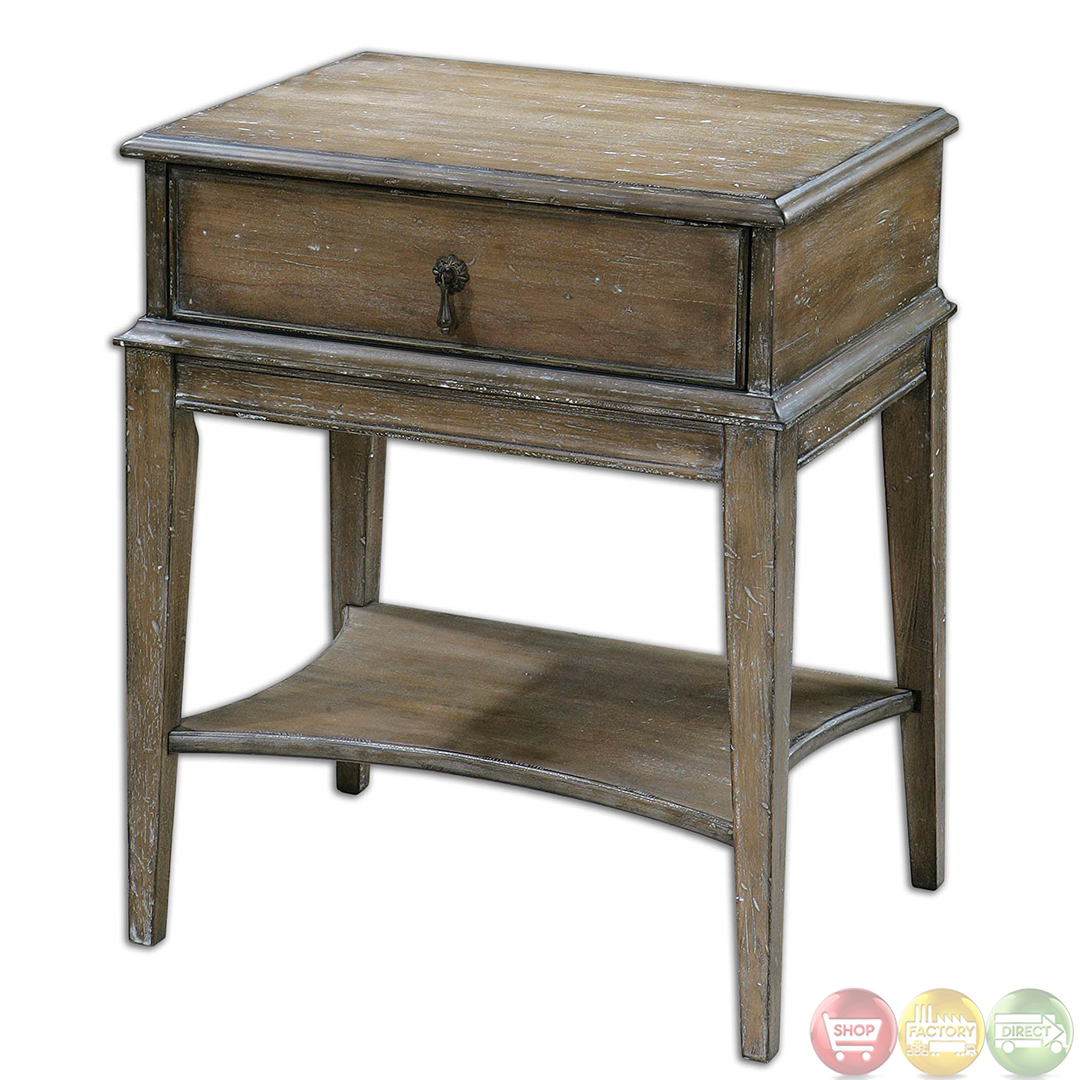 Hanford country rustic weathered pine accent table 24312 for Accent furniture