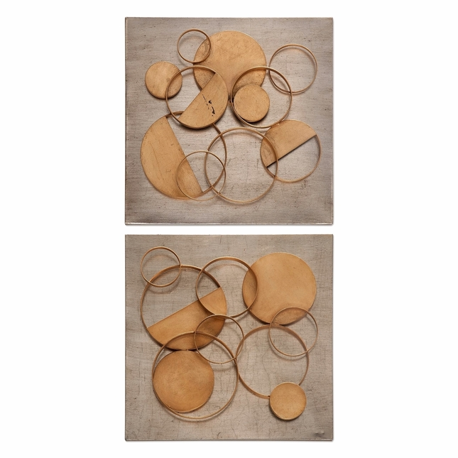 """Set of 2, Hanlon Champagne Metal Squares With Floating Gold Circles, 21""""x21"""""""
