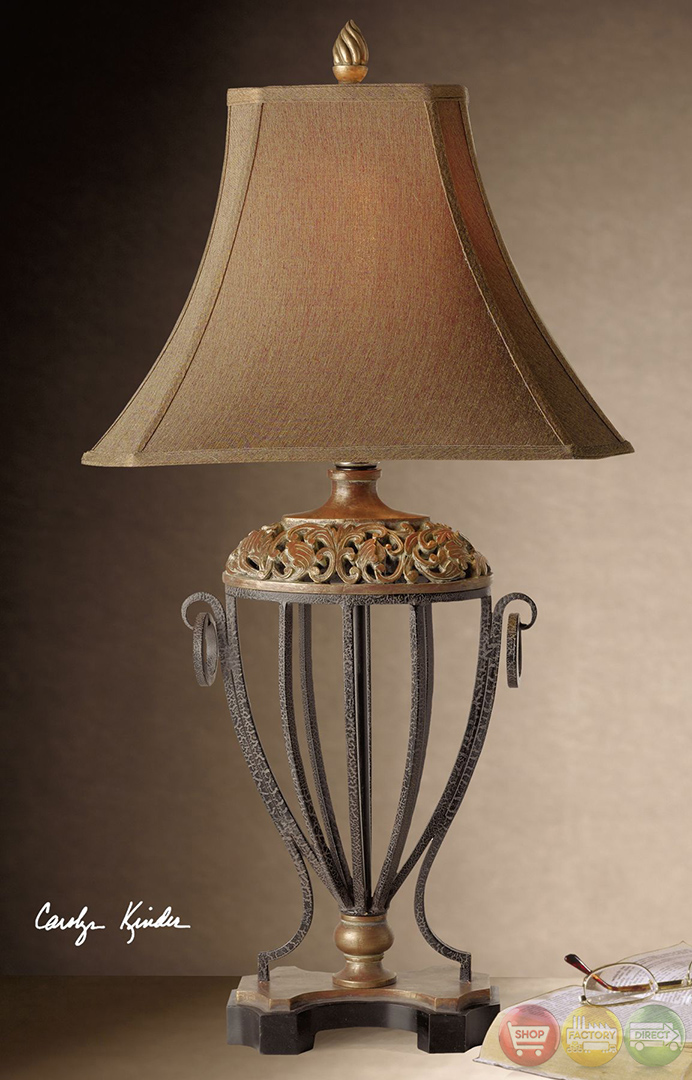 Jenelle Acorn Design Antique Gold Leaf Table Lamp 27206