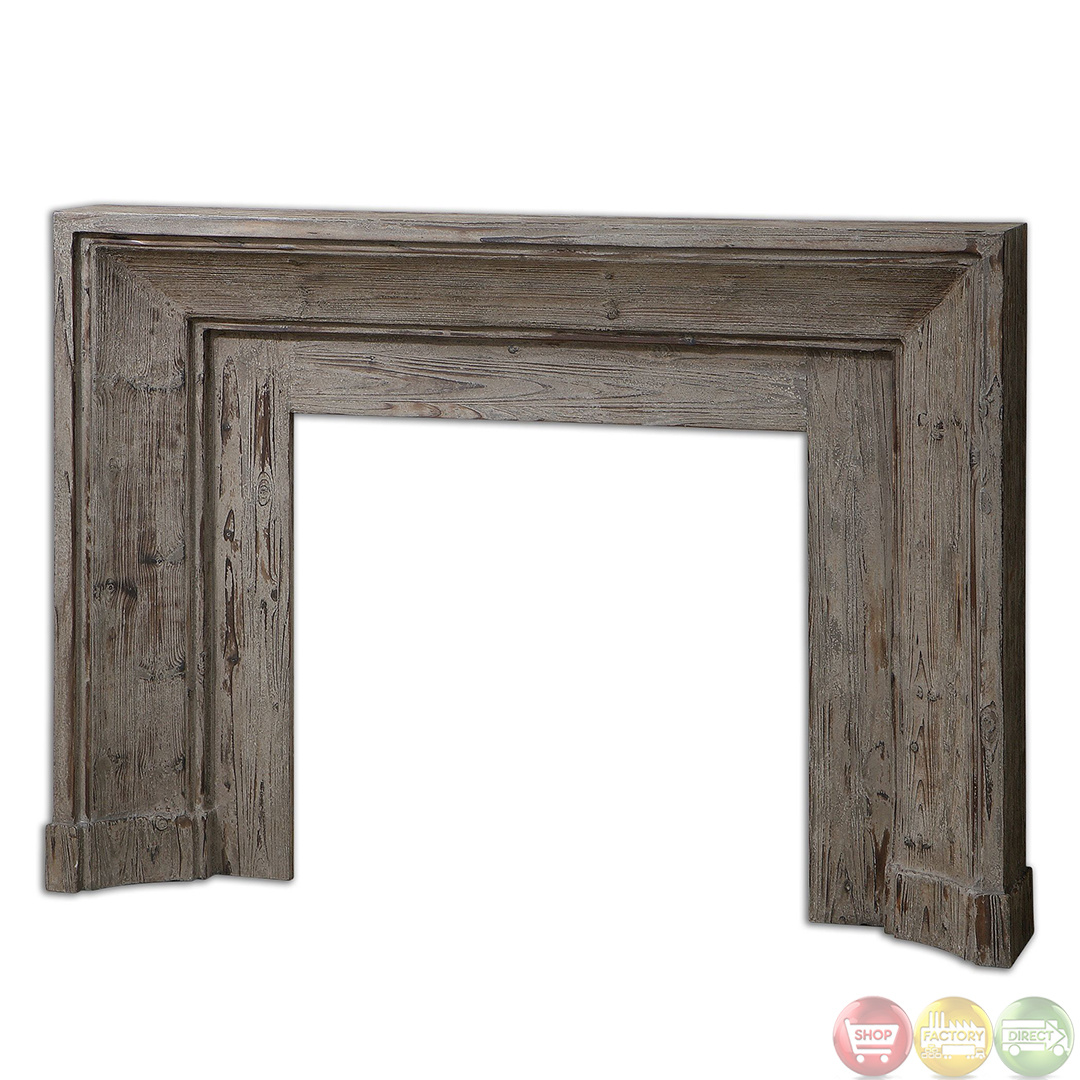 Khuri Stonewashed Solid Wood Rustic Fireplace Mantel 24800