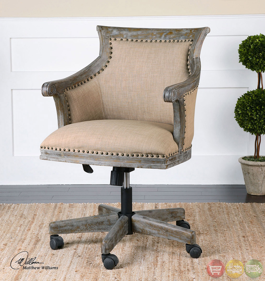 Kimalina Beige Linen Amp Weathered Wood Accent Chair 23175