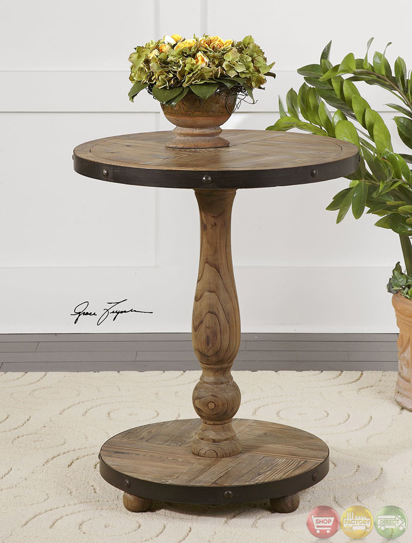 Round Wood Side Table ~ Kumberlin weathered solid wood round accent table