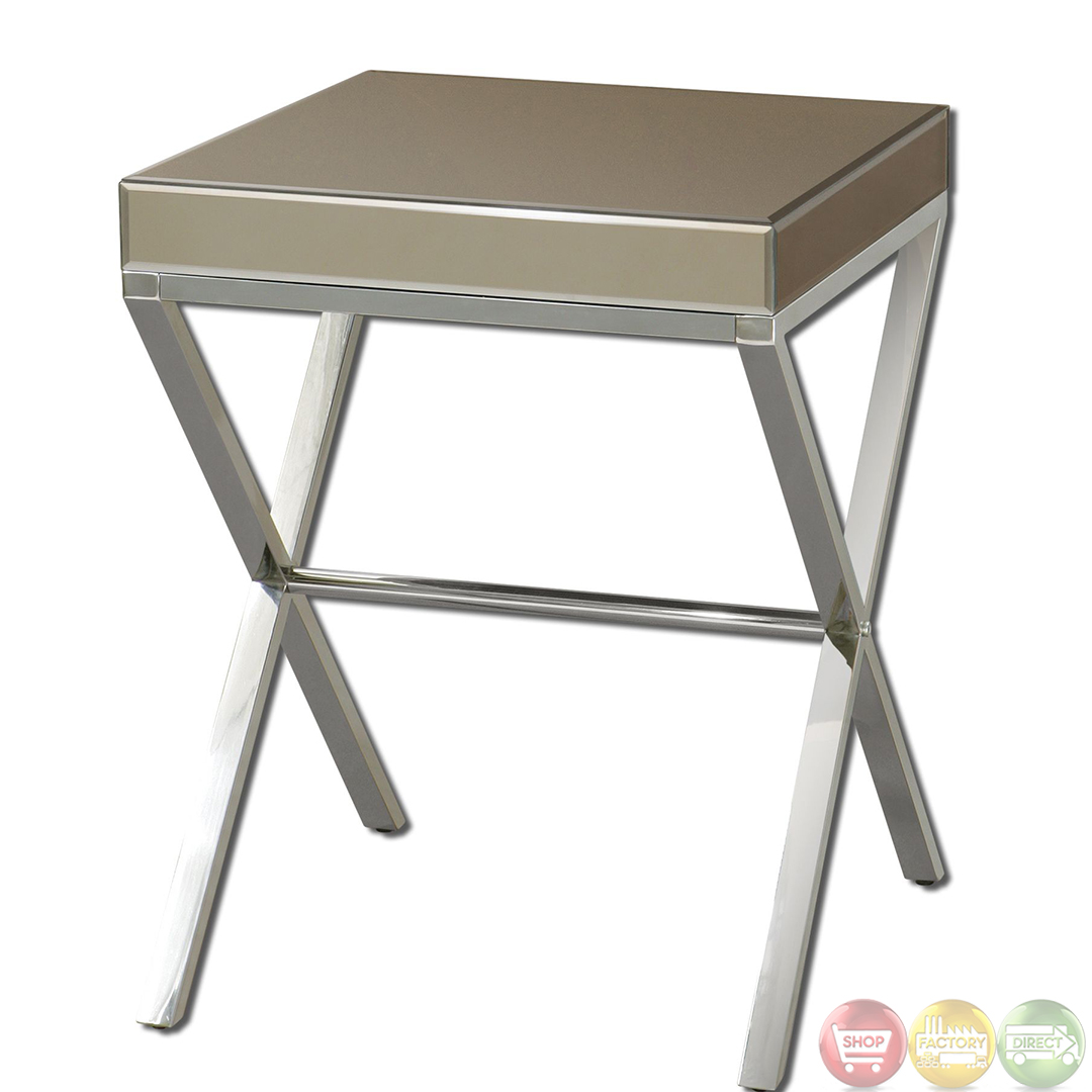 Lexia Bronze Mirrored Modern Side Table 24299