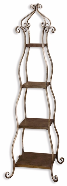 Lilah Hand Forged Metal Silver Leaf Finish Etagere 26118