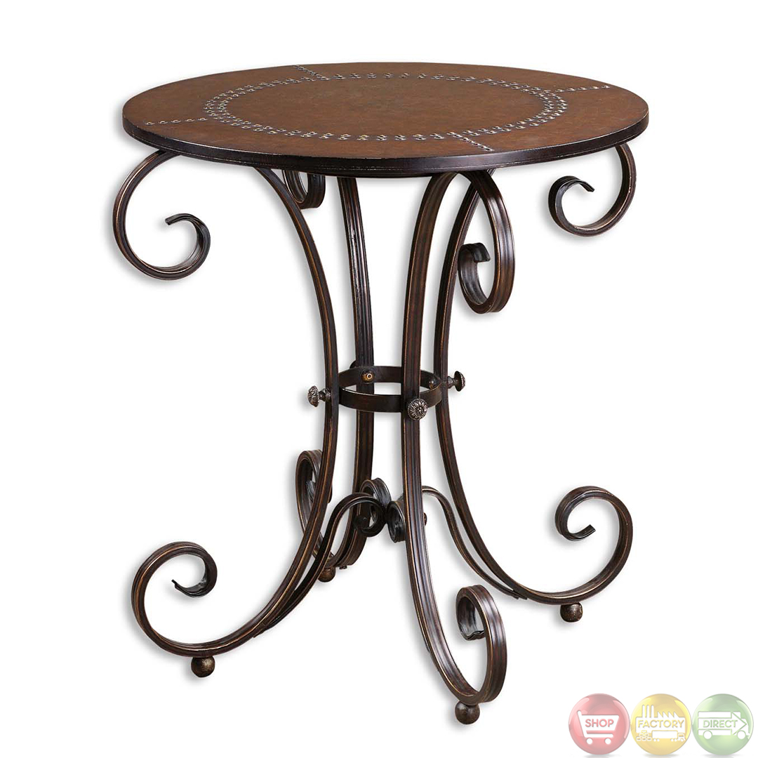Silver Studded Coffee Table: Lyra Studded Faux Leather Top Round Accent Table 26111