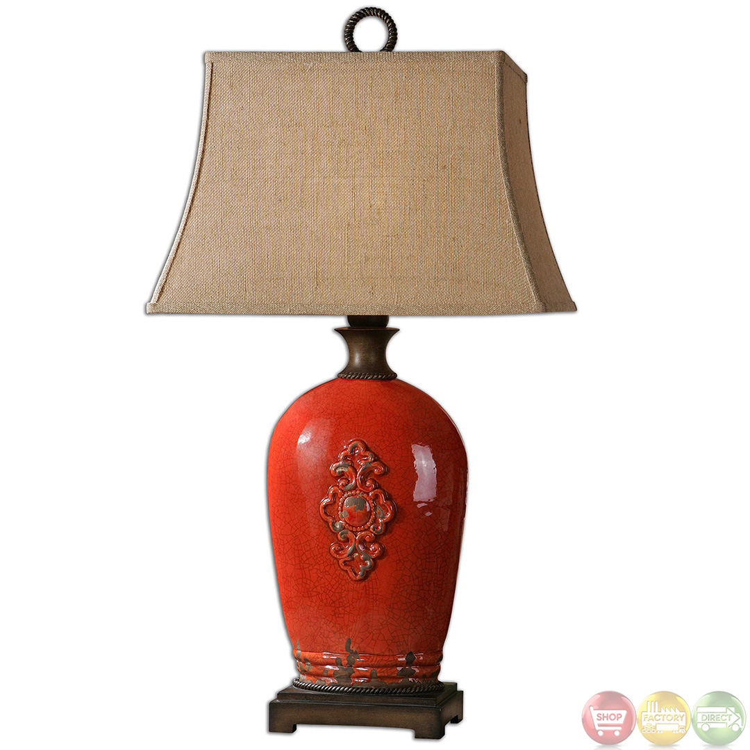 Mataline Crackled Red Ceramic Table Lamp 26348