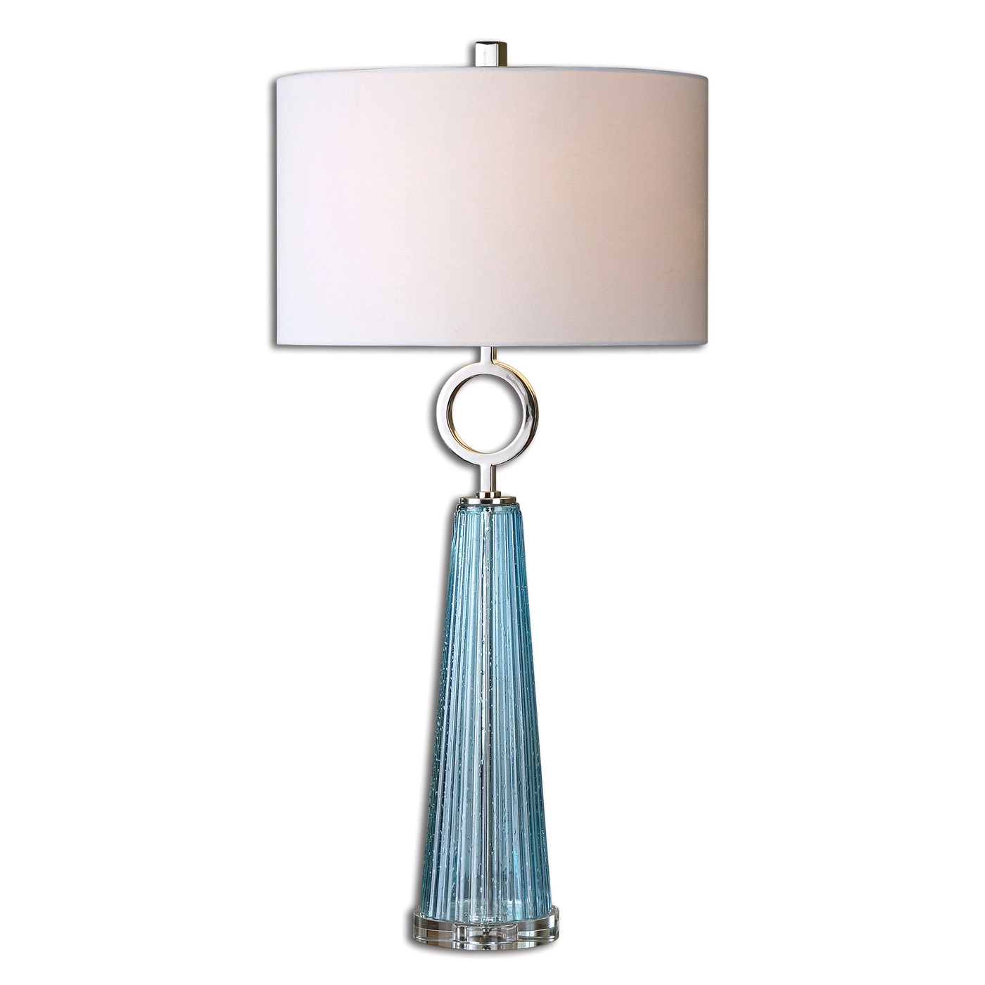 Navier Seeded Blue Ribbed Glass Table Lamp 27698 1
