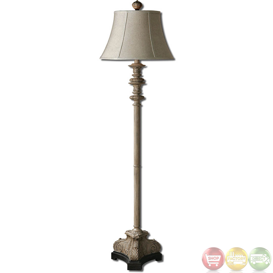 Nerio distressed gray crackle black base floor lamp 28243 for Distressed silver floor lamp